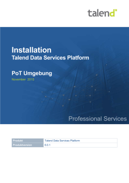 Installation Talend Data Services Platform PoT Umgebung