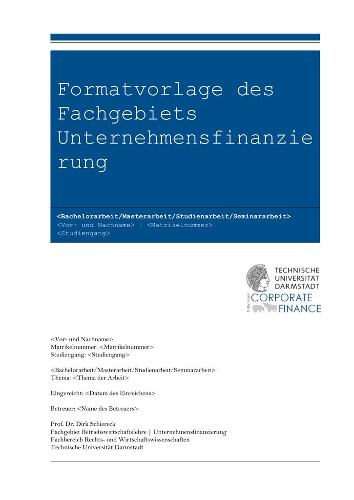 Vorlage Für Abschlussarbeiten Technische Universität Darmstadt