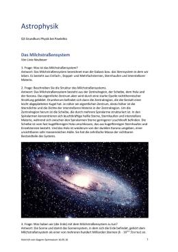 1. Frage: Was ist das Milchstraßensystem?