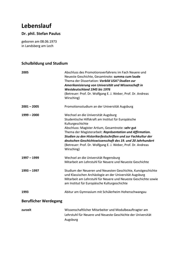 lebenslauf paulus neu universitt augsburg - Paulus Lebenslauf