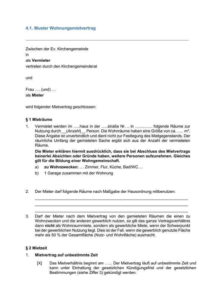 41 Muster Wohnungsmietvertrag Zwischen Der Ev