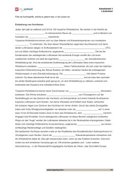 Die groessten Naturgewalten, Folge 3, Arbeitsblatt 3 Lösungen
