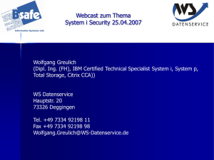 WebCast vom 25.04.2007: System i Security