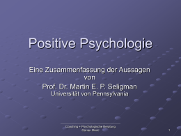 Positive Psychologie, Prävention und Therapie