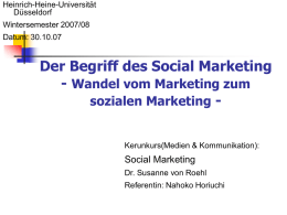 Der Begriff des Social Marketing - Heinrich-Heine