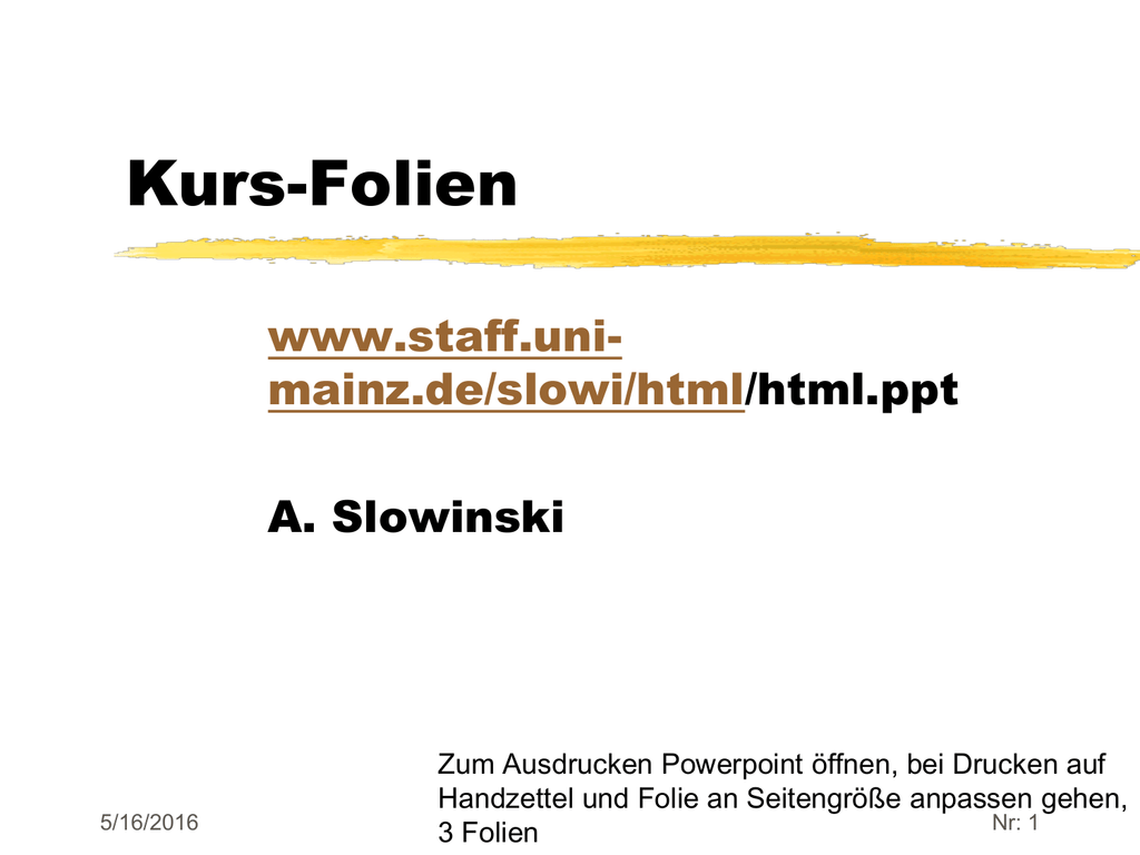 HTML-Kurs - Webseiten der Mitarbeiter der Universität