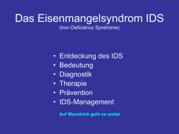 Das Eisenmangelsyndrom IDS (Iron Deficiency Syndrome)