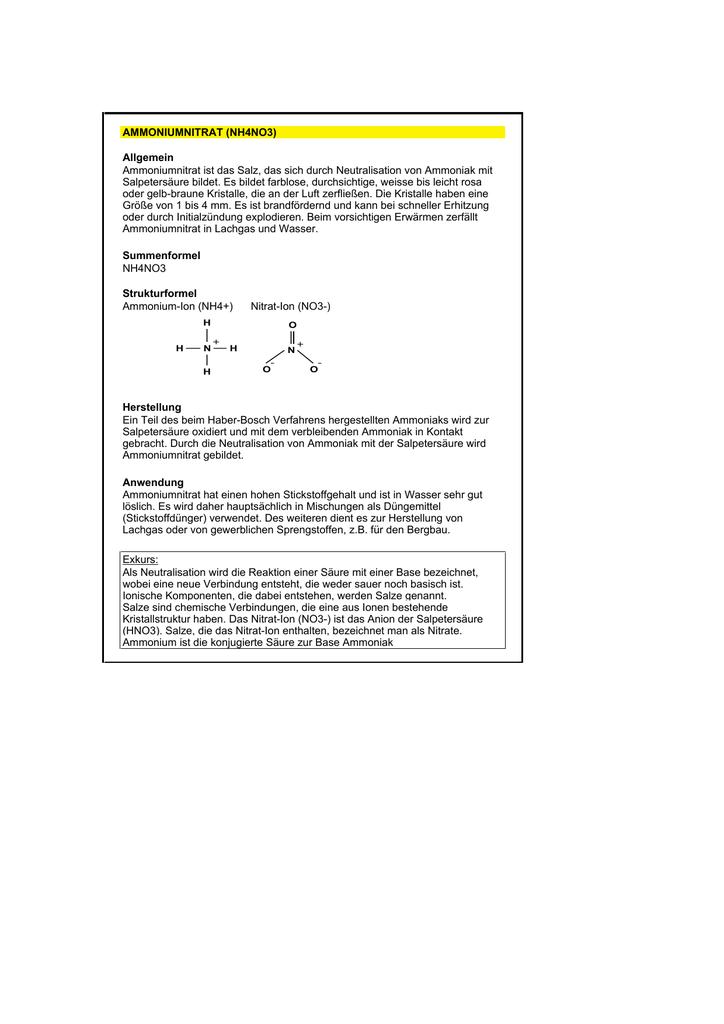 Ammoniumnitrat Nh4no3