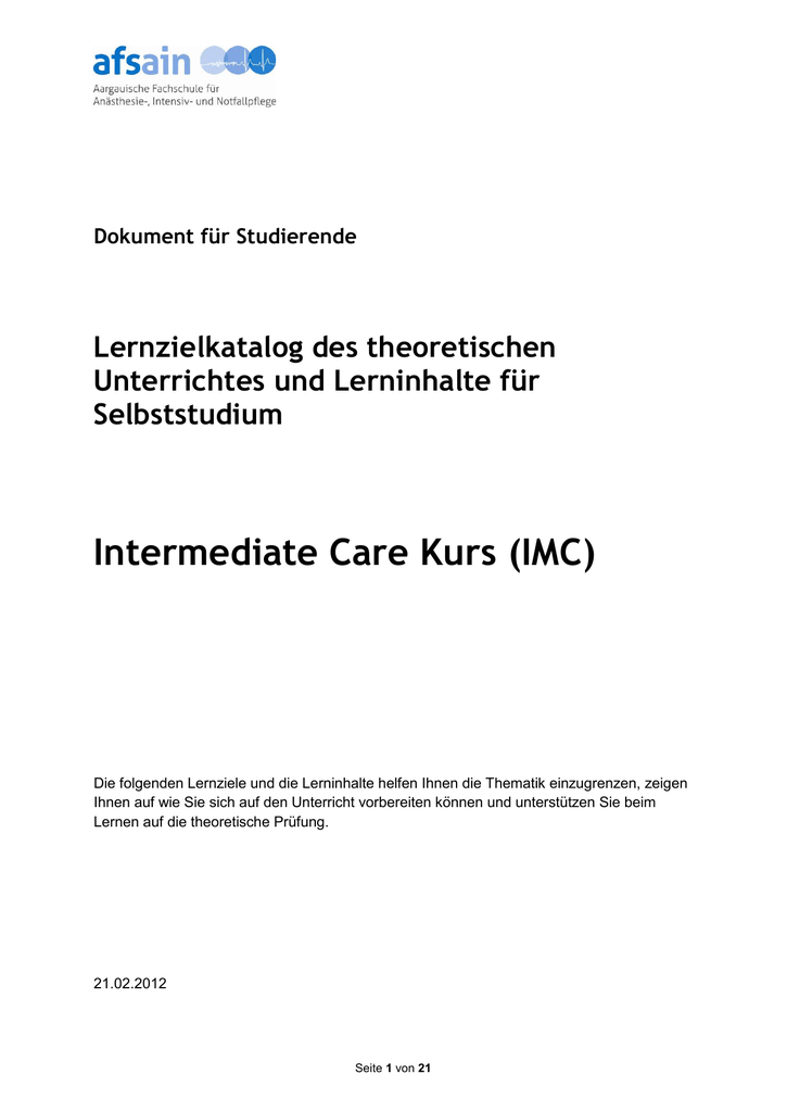 Lernzielkatalog IMC