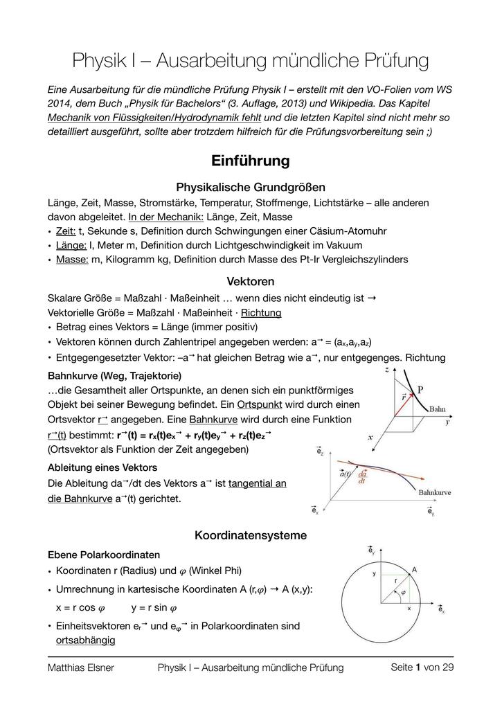 Physik I - Ausarbeitung für die mündliche Prüfung