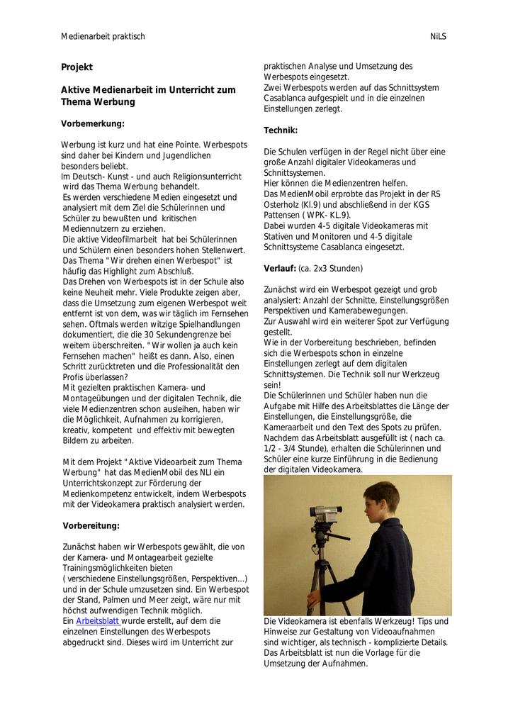 Aktive Videoarbeit zum Thema Werbung