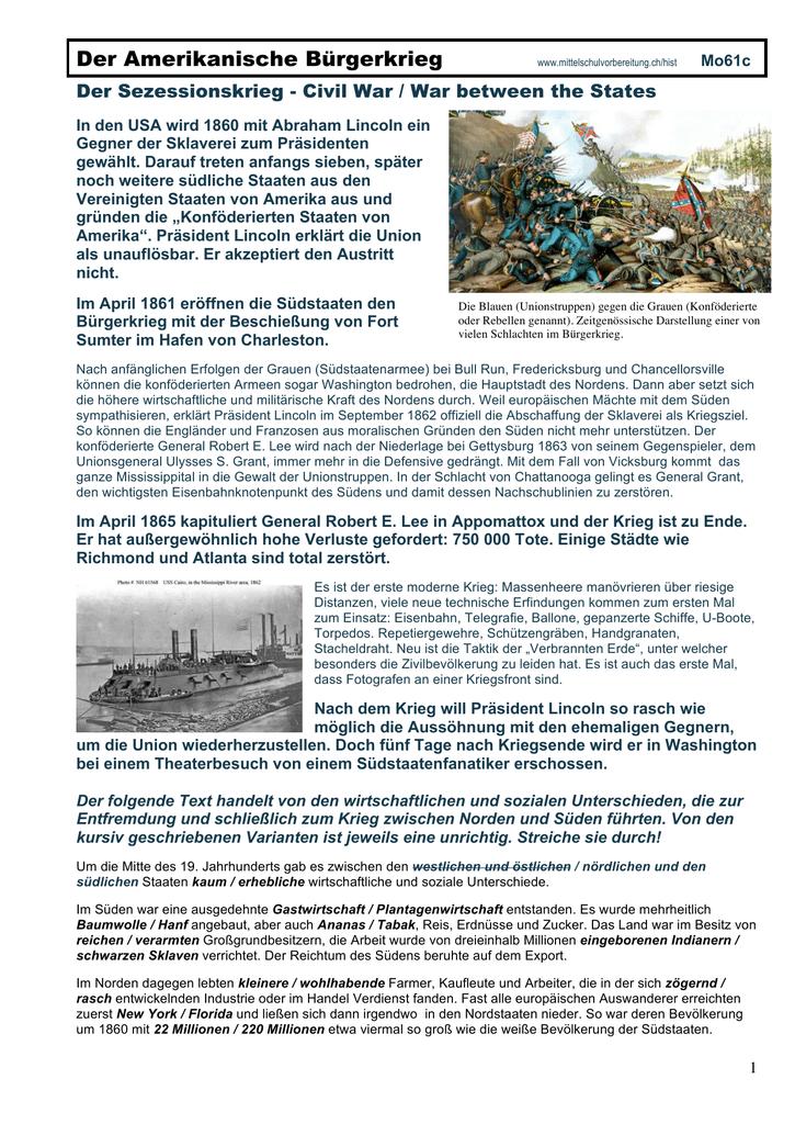 Der Amerikanische Bürgerkrieg (Sezessionskrieg)