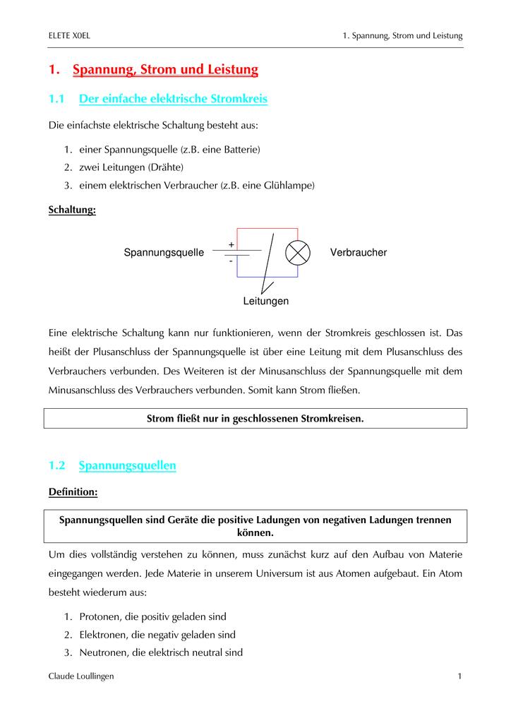 1. Spannung, Strom und Leistung