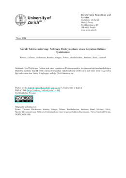 Akrale Metastasierung - Zurich Open Repository and Archive