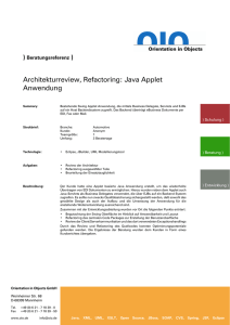 Qualitätssicherung u. Design Review eines Java Applet EJB Clients