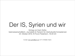 KI-Forum 24.10.2016 Der IS in Syrien und Irak
