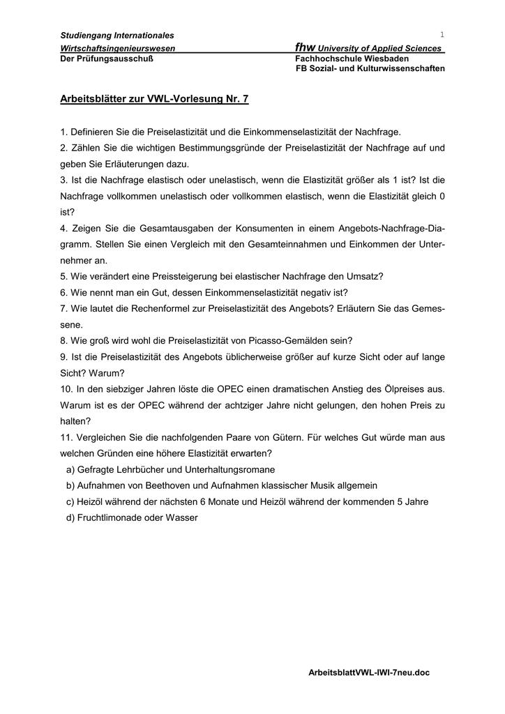 Arbeitsblätter zur VWL-Vorlesung Nr. 7 - johann
