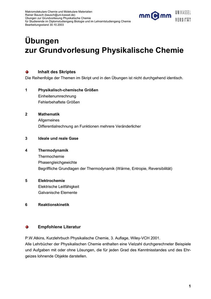 Übungen zur Grundvorlesung Physikalische Chemie