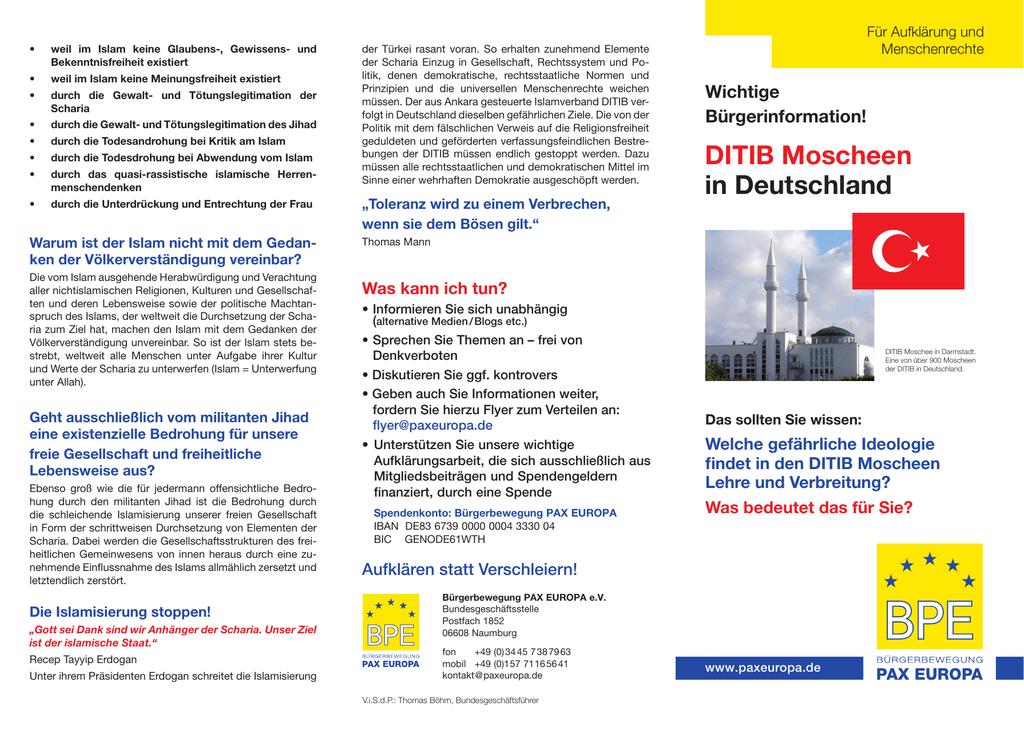 DITIB Moscheen in Deutschland - Bürgerbewegung PAX EUROPA eV