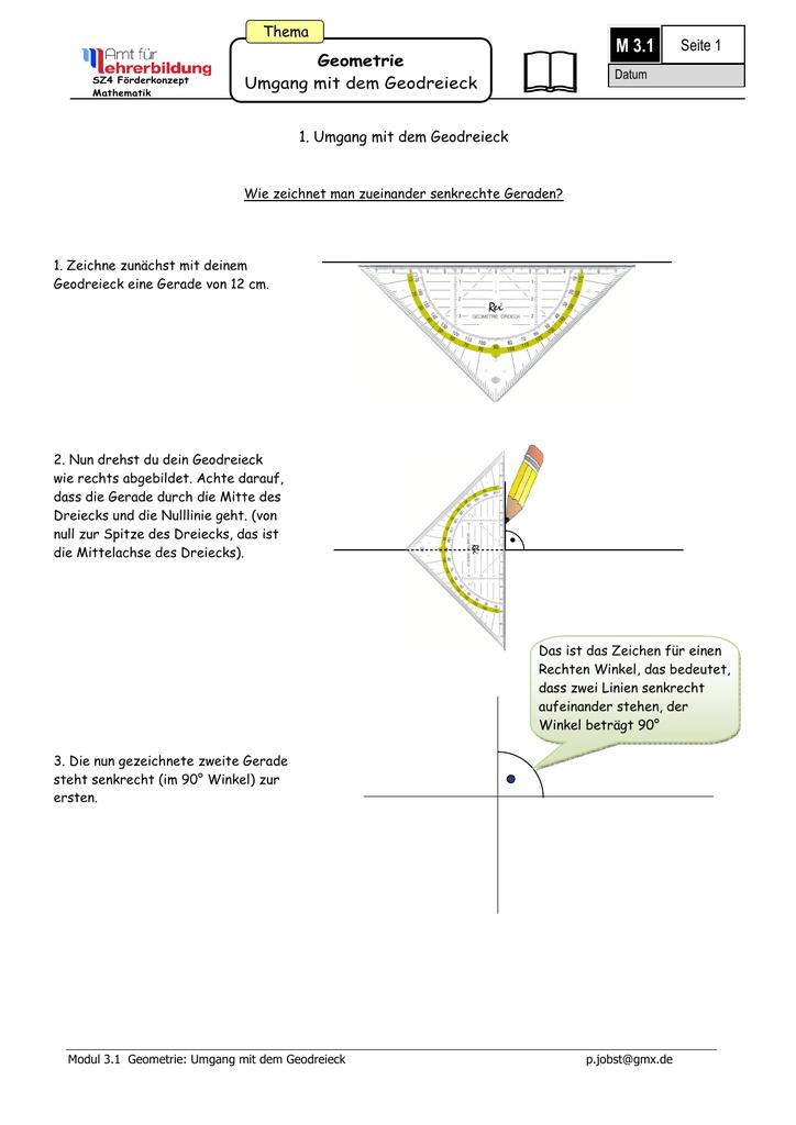 Mod. 3.1 Übungen zum Umgang mit dem Geodreieck