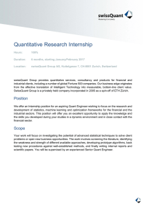 Quantitative Research Internship