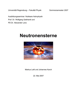 Neutronensterne - Physik