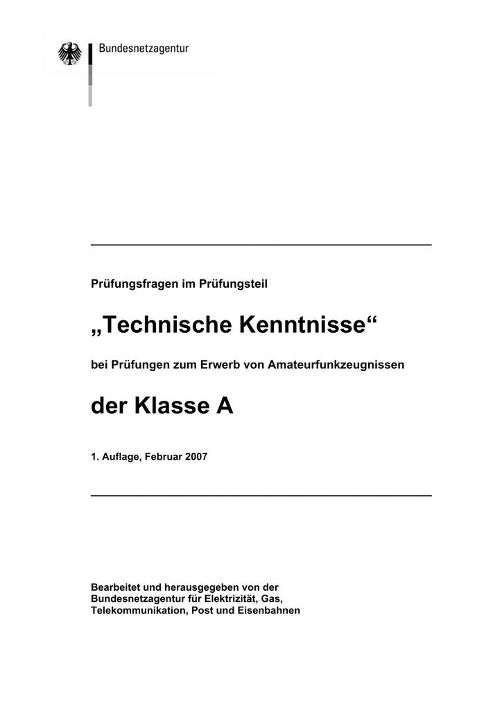 Technik-Fragenkatalog für Klasse A