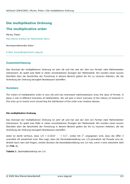 Die multiplikative Ordnung The multiplicative order