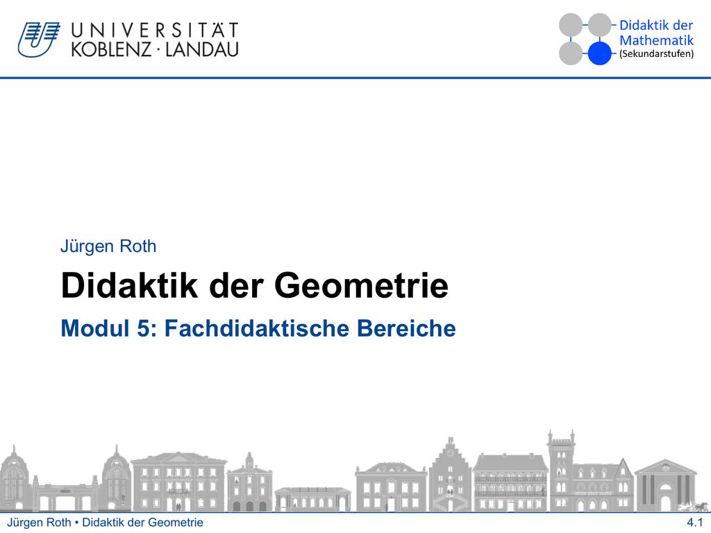 Jürgen Roth Didaktik der Geometrie