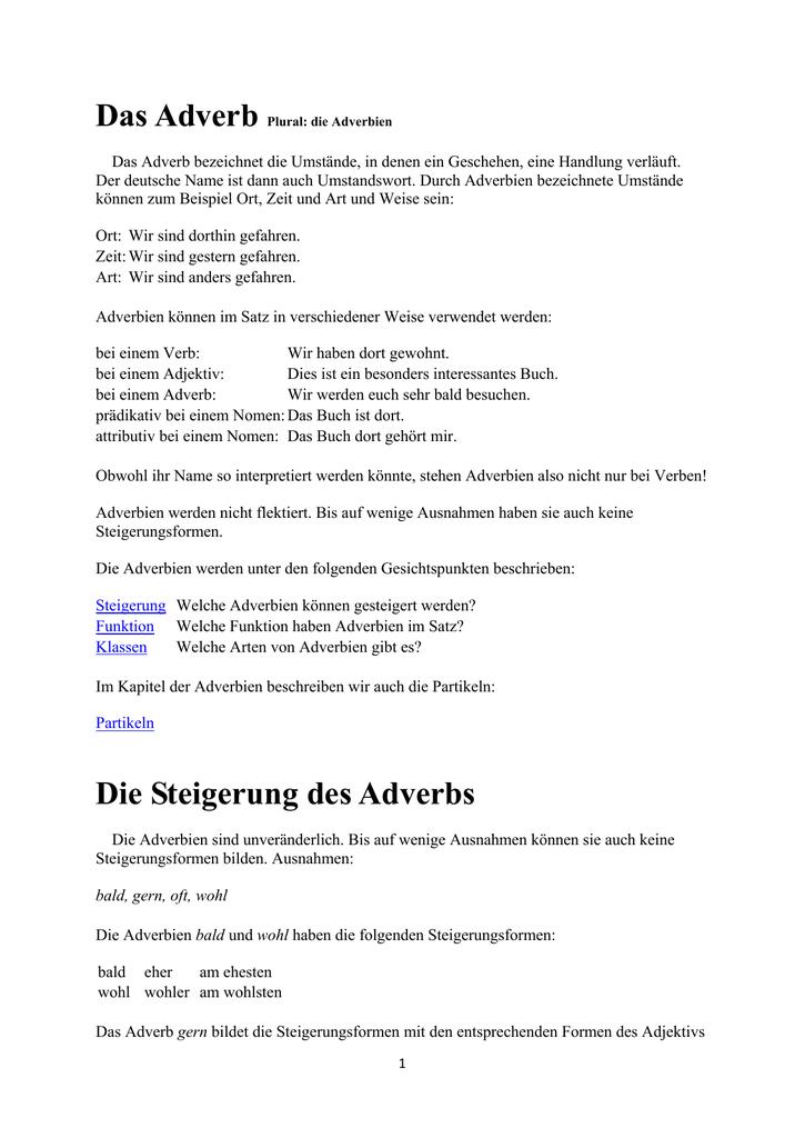 Gemütlich 5Klasse Adverb Arbeitsblatt Fotos - Super Lehrer ...