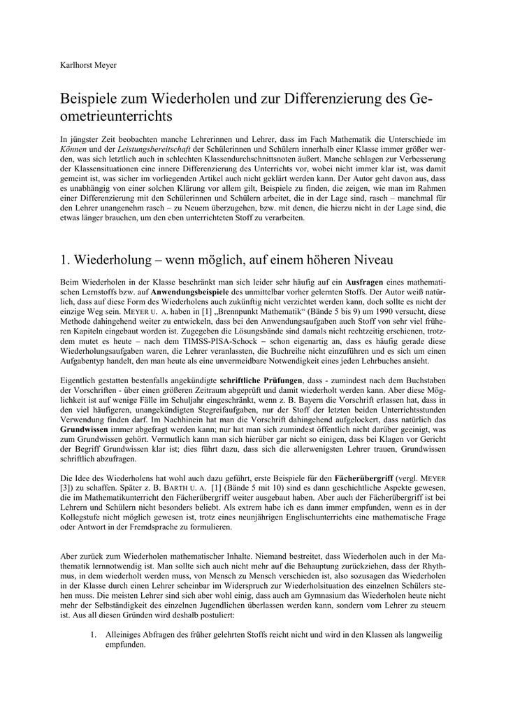 Meyer, Kh: Beispiele zum Wiederholen und zur Differenzierung des