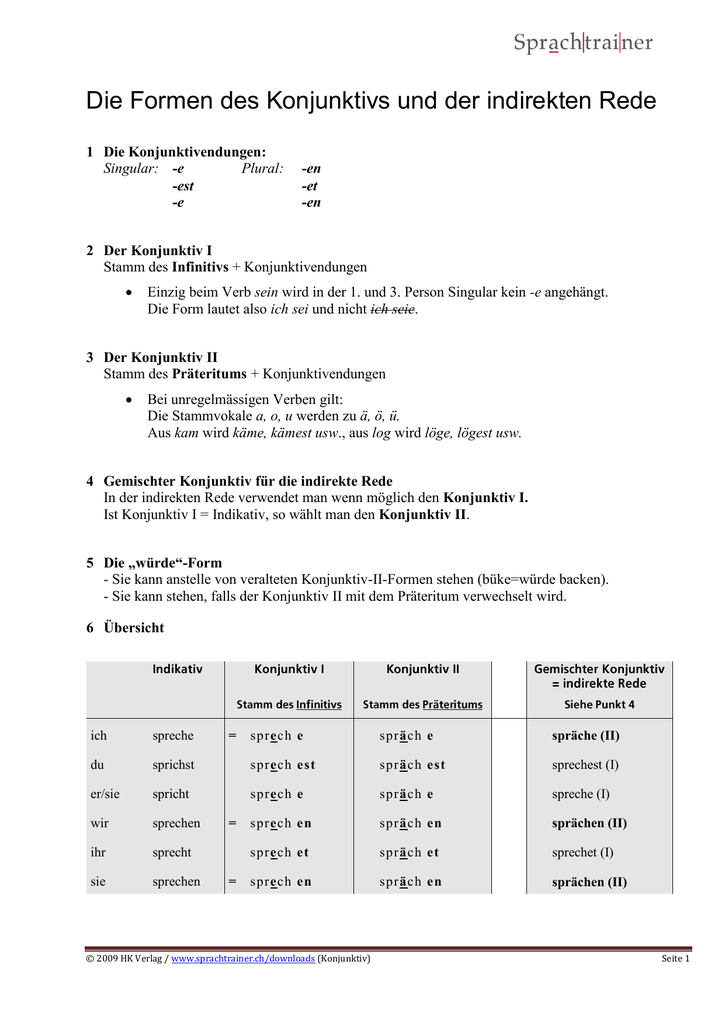 Indirekte rede im konjunktiv aufsatz probe 4 klasse