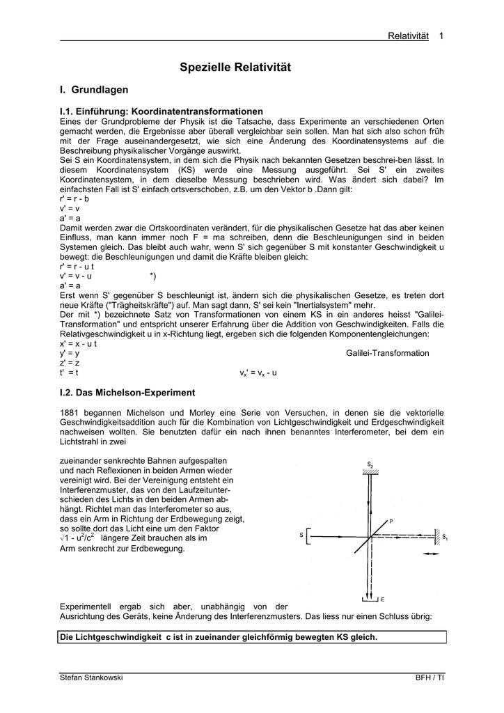 Spezielle Relativität - BFH