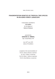 fragmentation genetics of tropical tree species in - ETH E