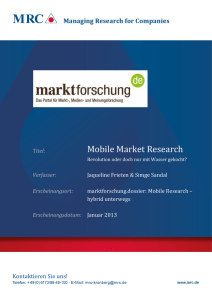 Mobile Market Research - MRC Managing Research for Companies
