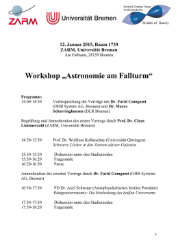 "Workshop ""Astronomie am Fallturm"""