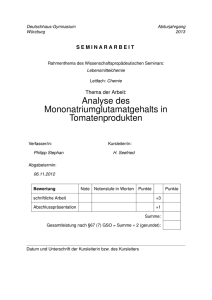 Analyse des Mononatriumglutamatgehalts in
