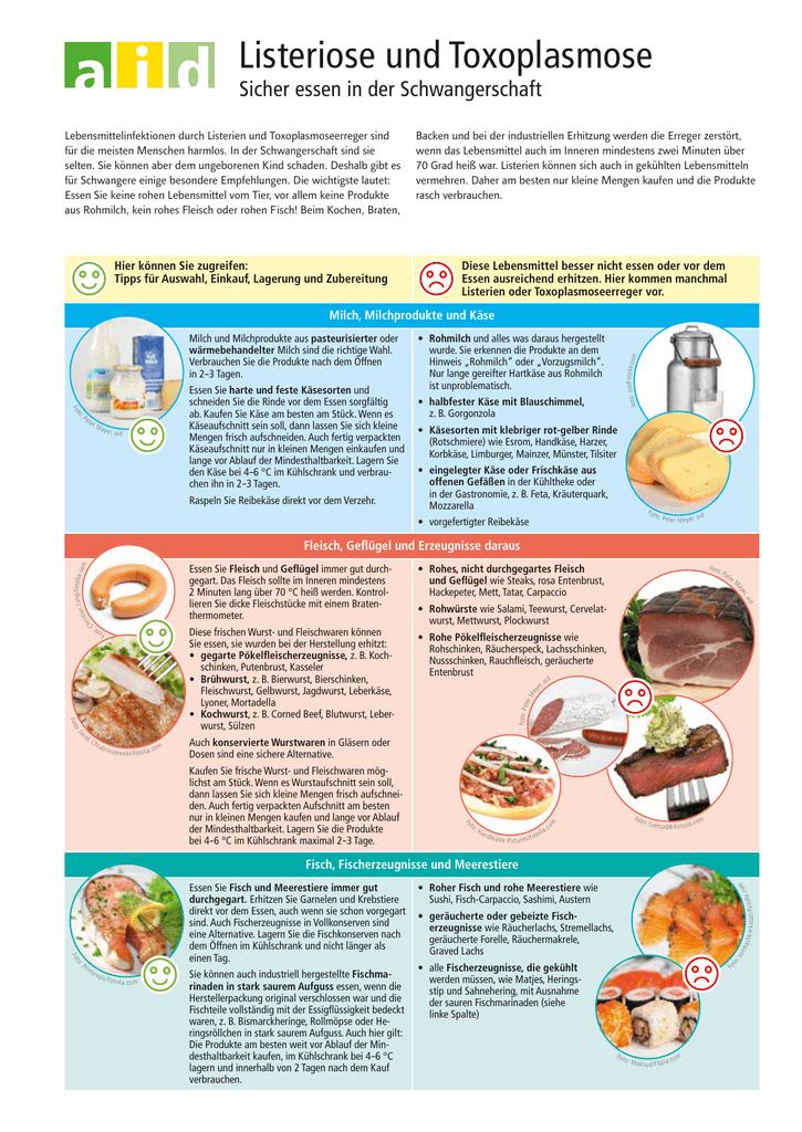 Listeriose und Toxoplasmose - Sicher essen in der - aid-Shop