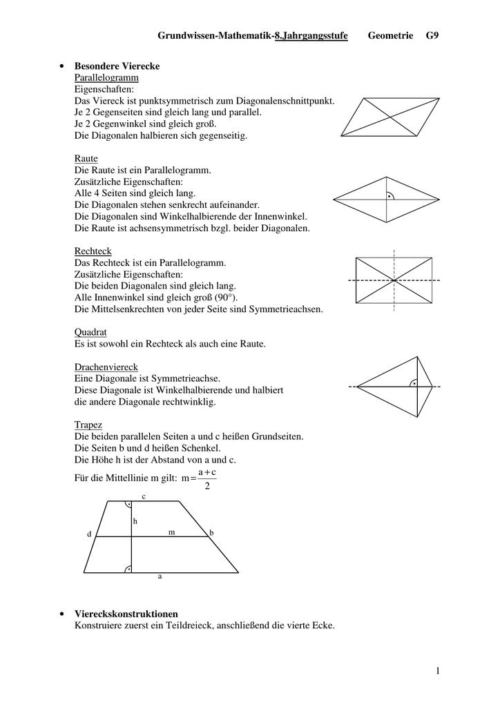Grundwissen-Mathematik-8.Jahrgangsstufe Geometrie G9 1