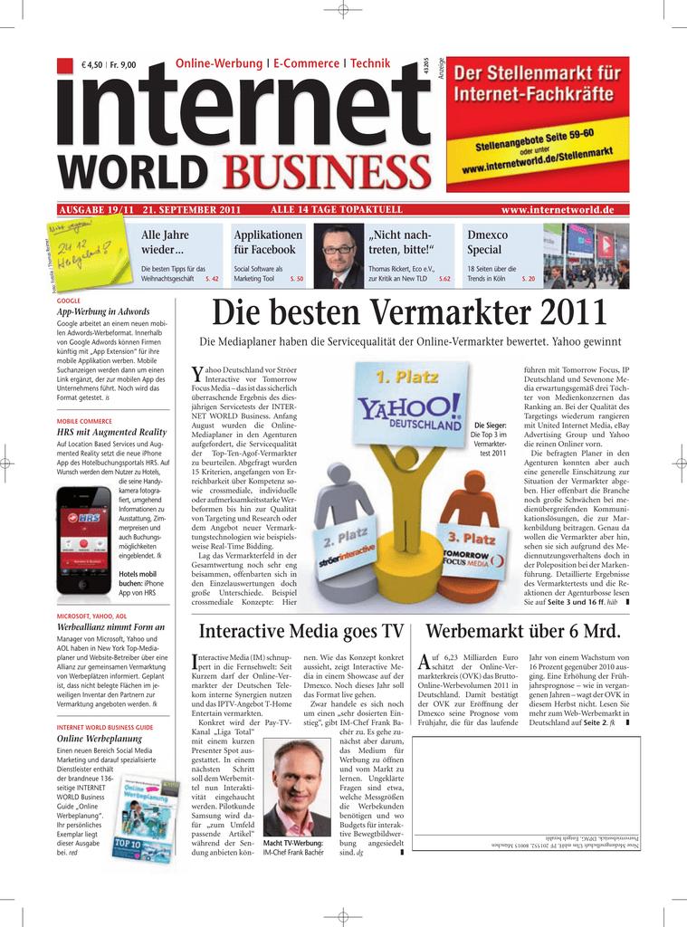 Die besten Vermarkter 2011 - Heftarchiv