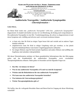 Auditorische Neuropathie / Auditorische Synaptopathie