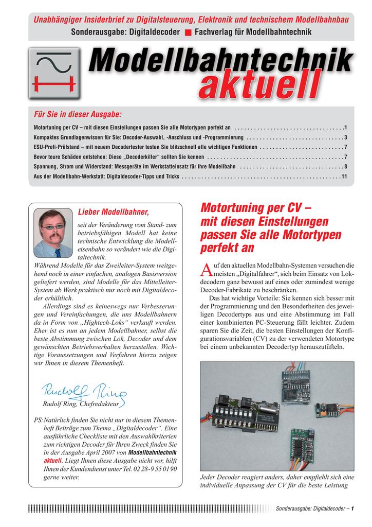 Motortuning per CV - Modellbahntechnik aktuell