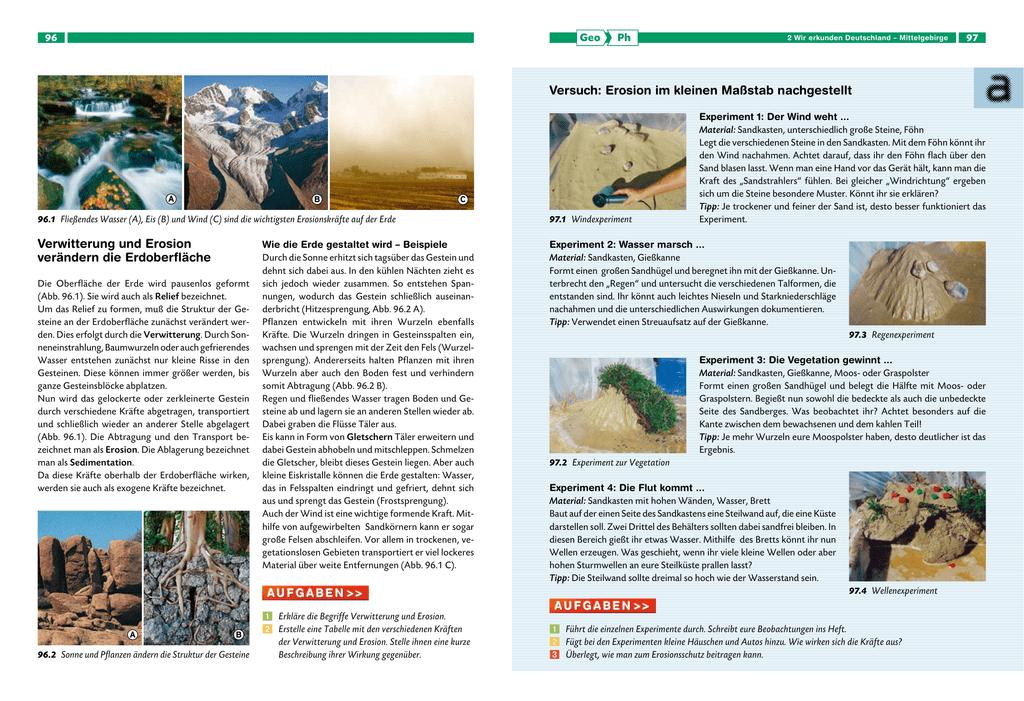 Verwitterung und Erosion verändern die Erdoberfläche Versuch