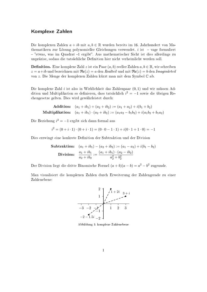 Komplexe Zahlen - KIT - Fakultät für Mathematik