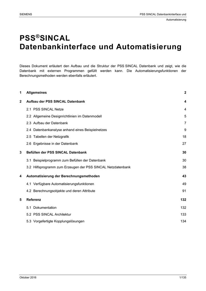 PSS SINCAL Datenbankinterface und Automatisierung