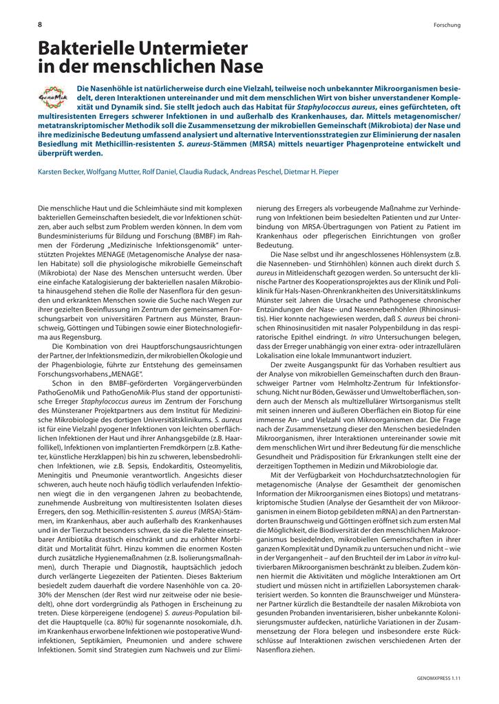 Bakterielle Untermieter in der menschlichen Nase (MRSA)