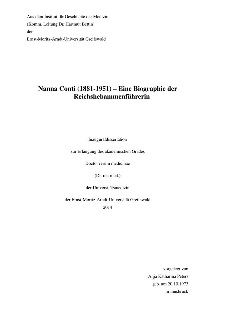 Nanna Conti (1881-1951) – Eine Biographie der