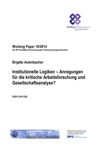 Working Paper 10-14 Institutionelle Logiken