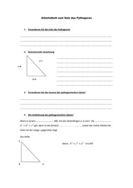 Sätze am rechtwinkligen Dreieck 1. Der Satz des Pythagoras