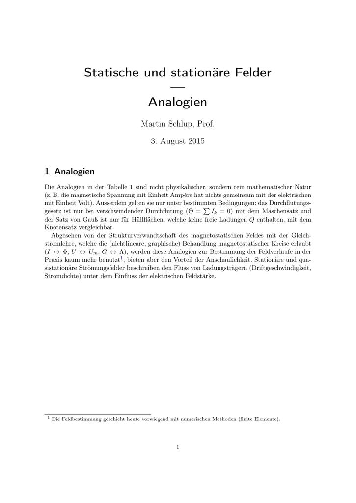 Statische und stationäre Felder — Analogien